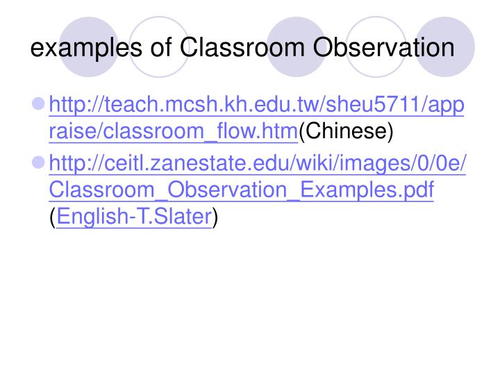 examples of Classroom Observation