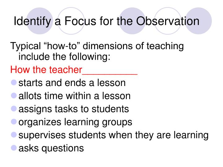 Identify a Focus for the Observation