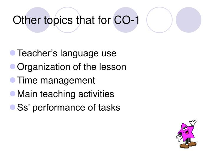 Other topics that for CO-1