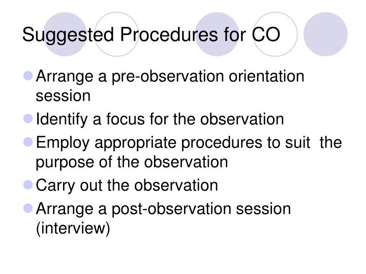 Suggested Procedures for CO