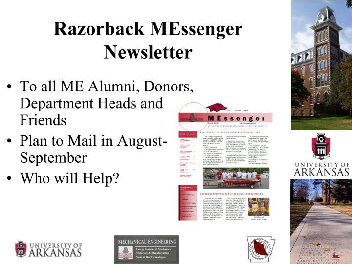 Razorback MEssenger Newsletter