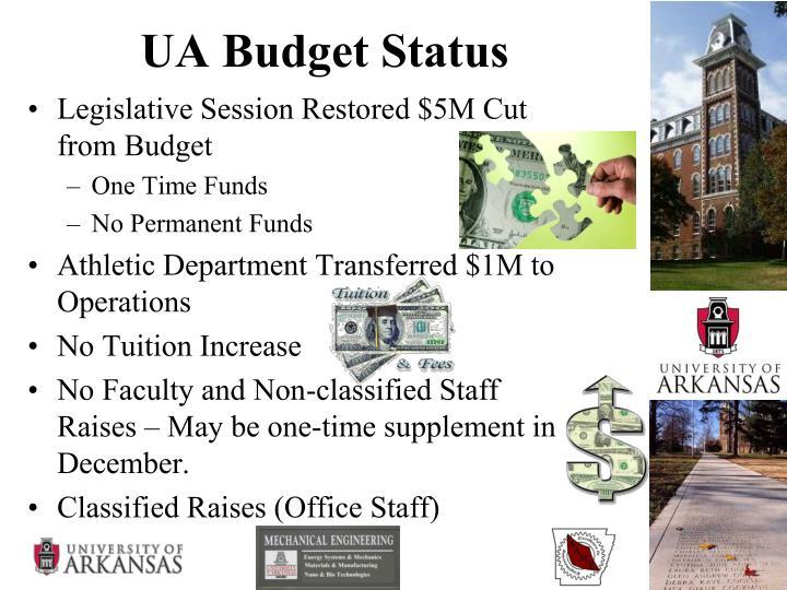 UA Budget Status