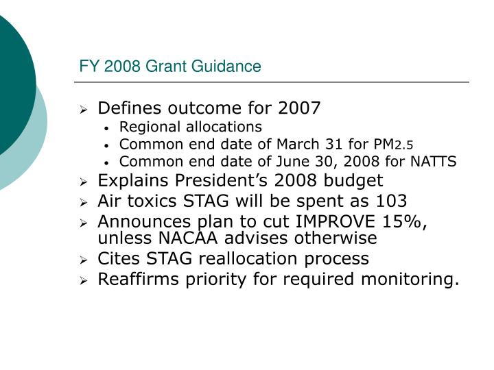 FY 2008 Grant Guidance