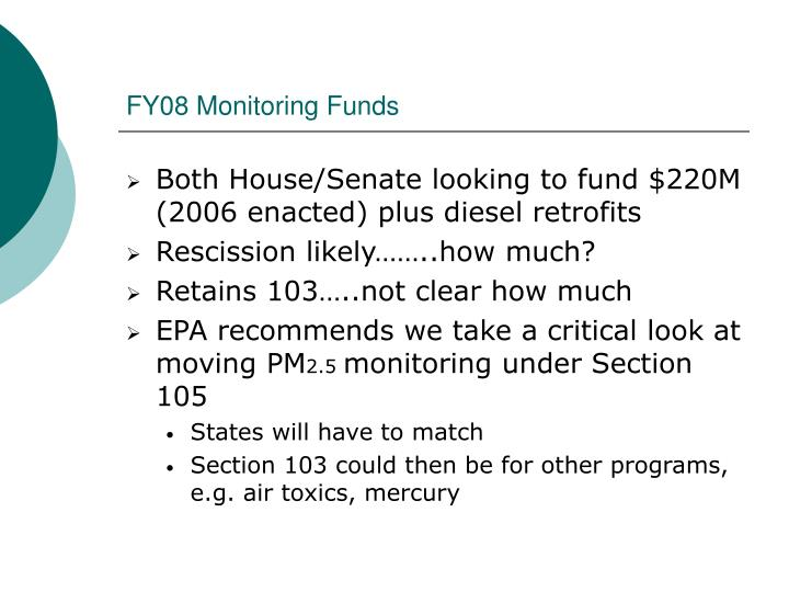 FY08 Monitoring Funds
