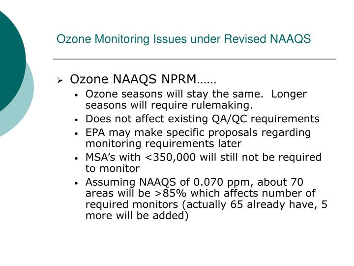 Ozone Monitoring Issues under Revised NAAQS