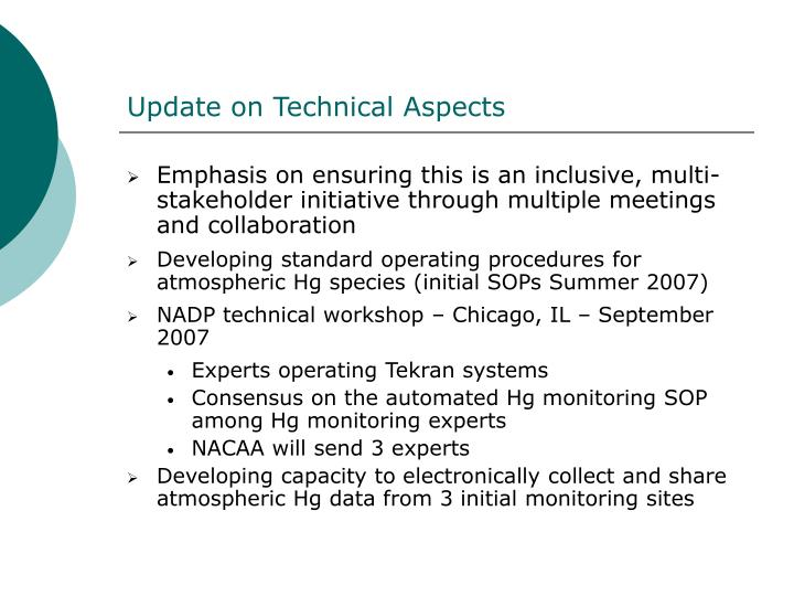 Update on Technical Aspects