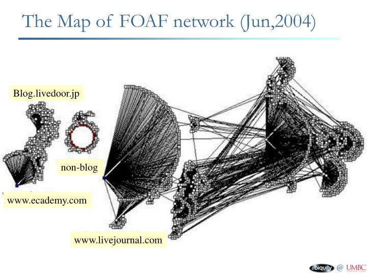 The Map of FOAF network (Jun,2004)