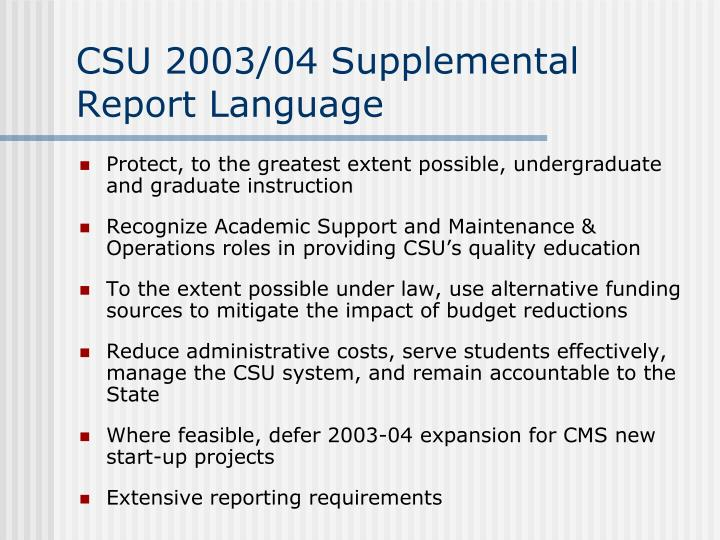 CSU 2003/04 Supplemental Report Language