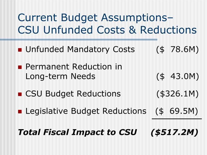 Current Budget Assumptions–