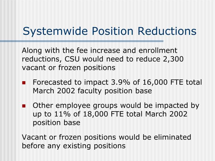 Systemwide Position Reductions