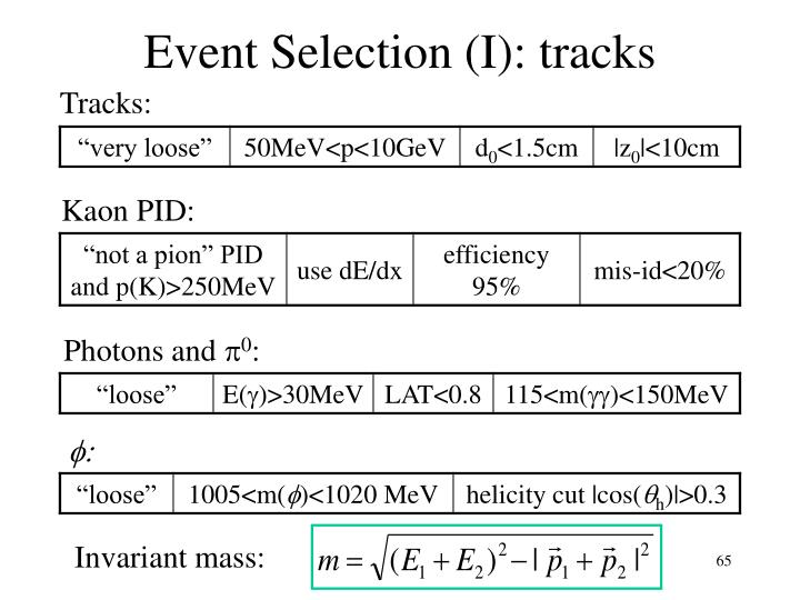 Event Selection (I): tracks