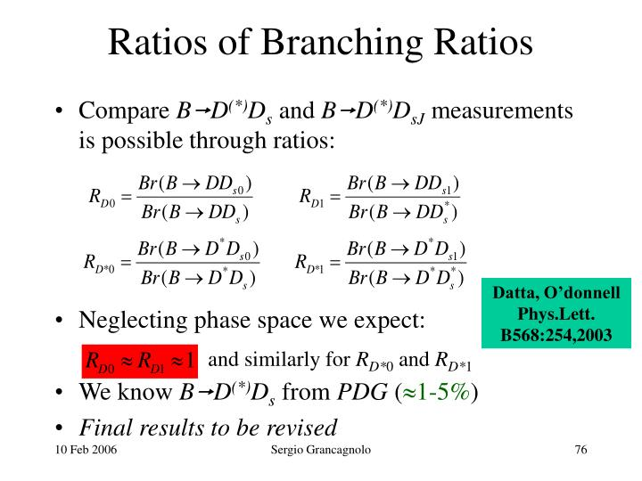 Ratios of Branching Ratios
