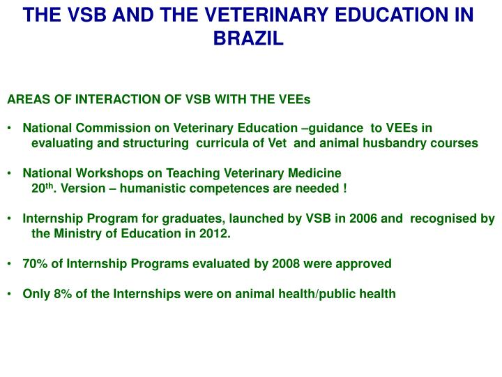 THE VSB AND THE VETERINARY EDUCATION IN BRAZIL