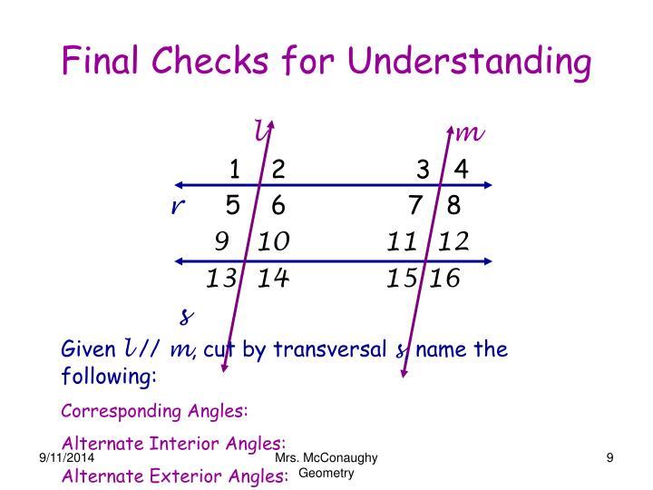 Final Checks for Understanding