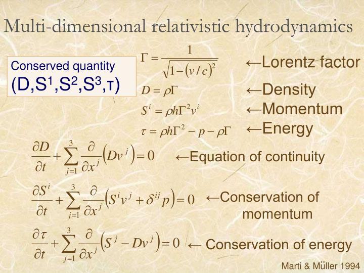 Multi-dimensional relativistic hydrodynamics