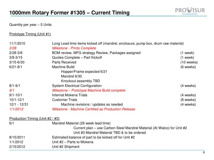 1000mm Rotary Former #1305 – Current Timing