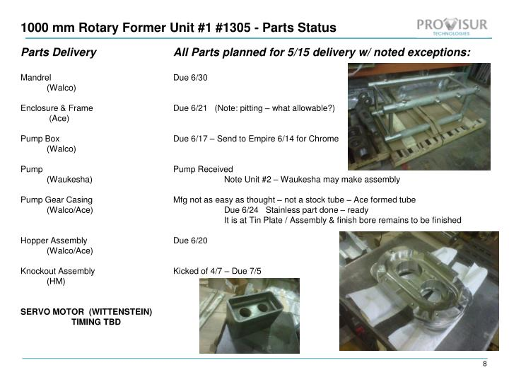 1000 mm Rotary Former Unit #1 #1305 - Parts Status