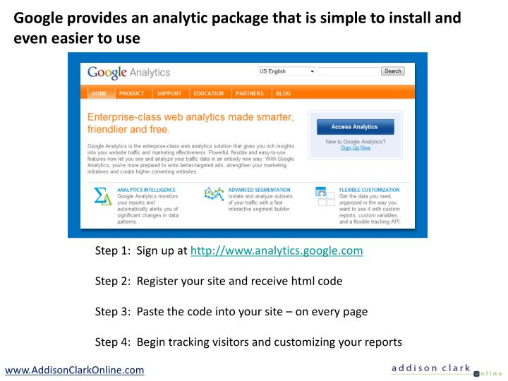 Google provides an analytic package that is simple to install and even easier to use