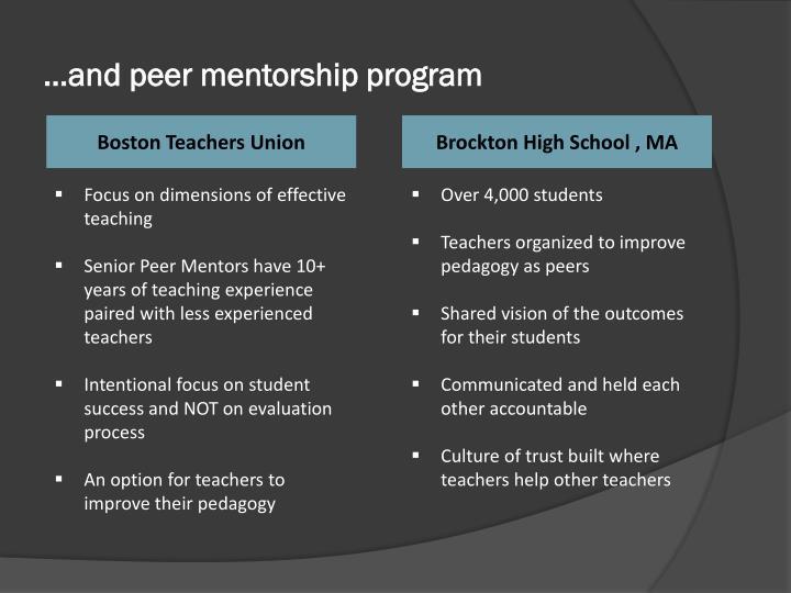 …and peer mentorship program