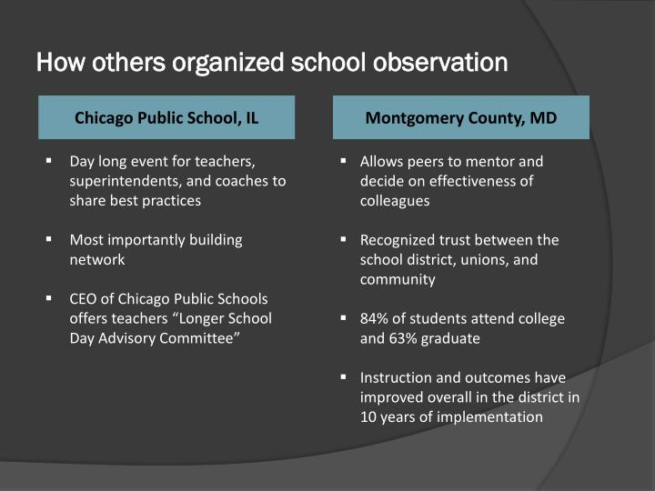 How others organized school observation