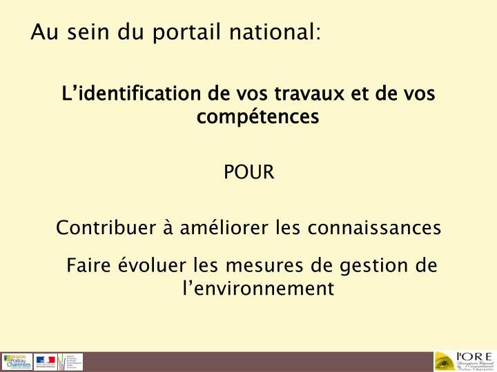 Au sein du portail national: