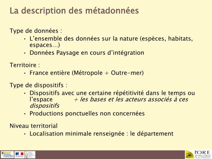 La description des métadonnées