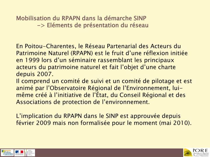 Mobilisation du RPAPN dans la démarche SINP