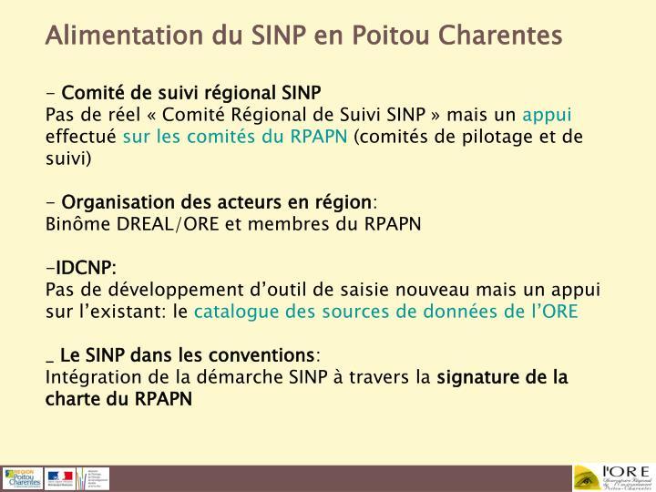 Alimentation du SINP en Poitou Charentes