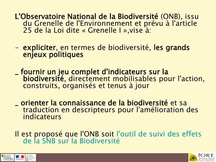 L'Observatoire National de la Biodiversité