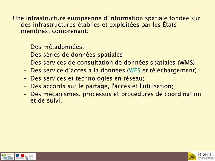 Une infrastructure européenne d'information spatiale fondée sur des infrastructures établies et exploitées par les États membres, comprenant: