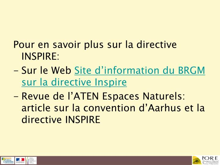 Pour en savoir plus sur la directive INSPIRE: