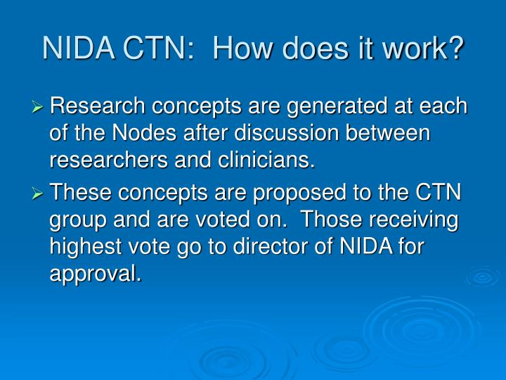 NIDA CTN:  How does it work?