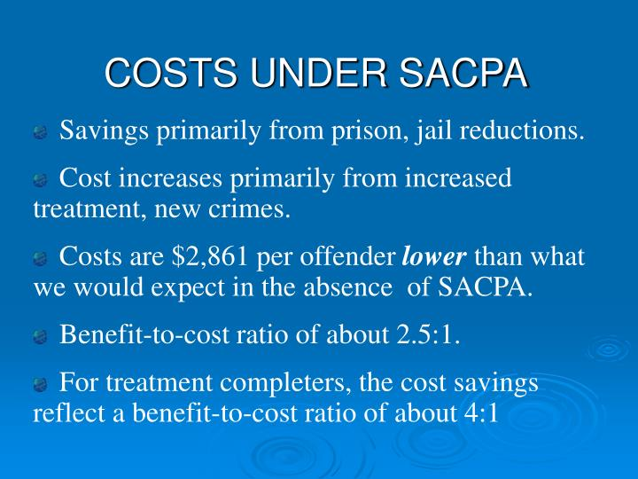 COSTS UNDER SACPA