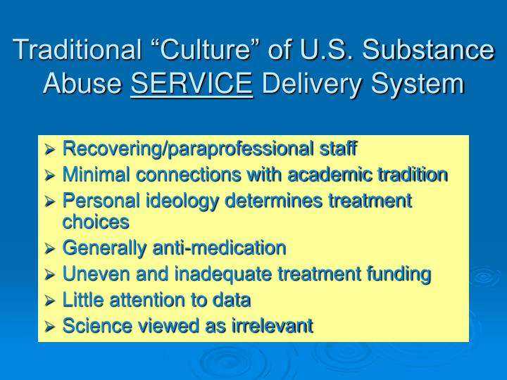 "Traditional ""Culture"" of U.S. Substance Abuse"