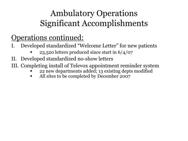 Ambulatory Operations