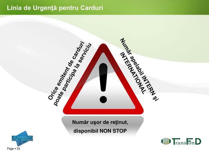Linia de Urgenţă pentru Carduri