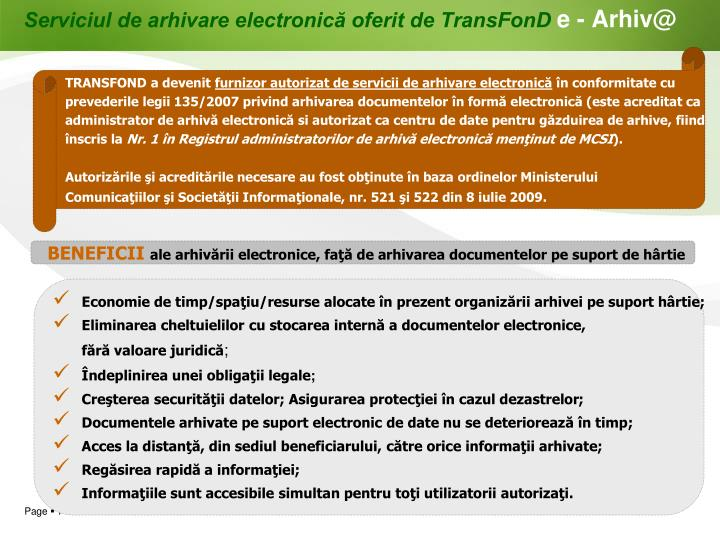 Serviciul de arhivare electronică oferit de TransFonD
