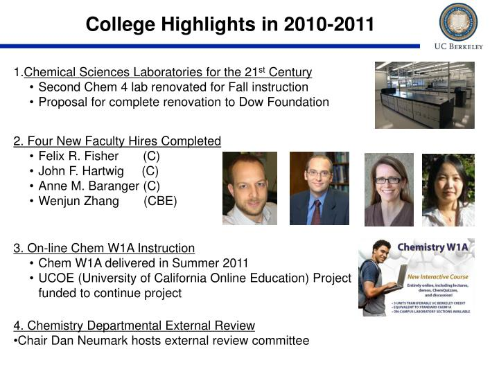 College Highlights in 2010-2011