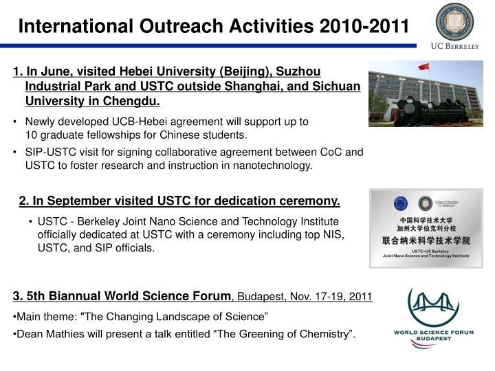 International Outreach Activities 2010-2011