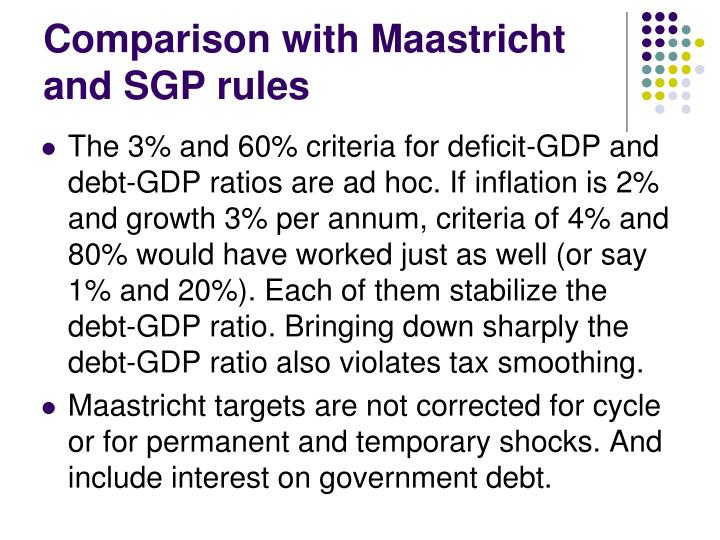 Comparison with Maastricht and SGP rules