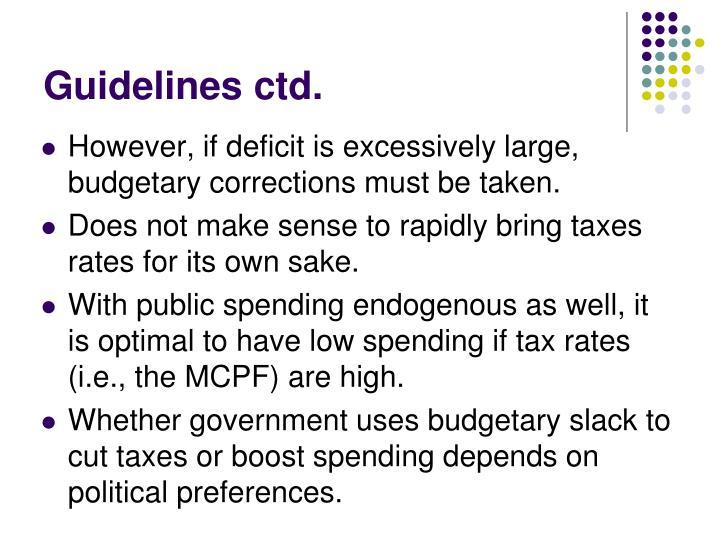 Guidelines ctd.