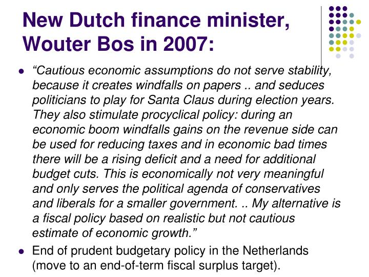 New Dutch finance minister, Wouter Bos in 2007: