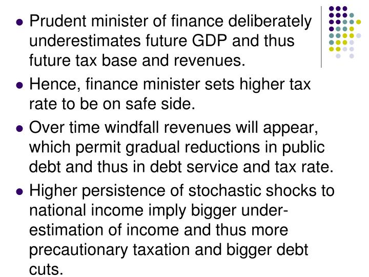 Prudent minister of finance deliberately underestimates future GDP and thus future tax base and revenues.