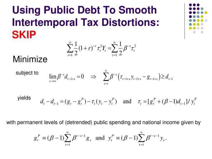 Using Public Debt To Smooth Intertemporal Tax Distortions: