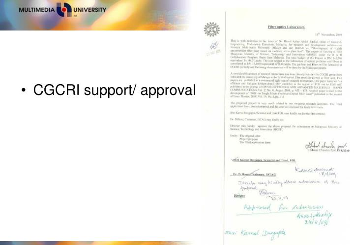CGCRI support/ approval