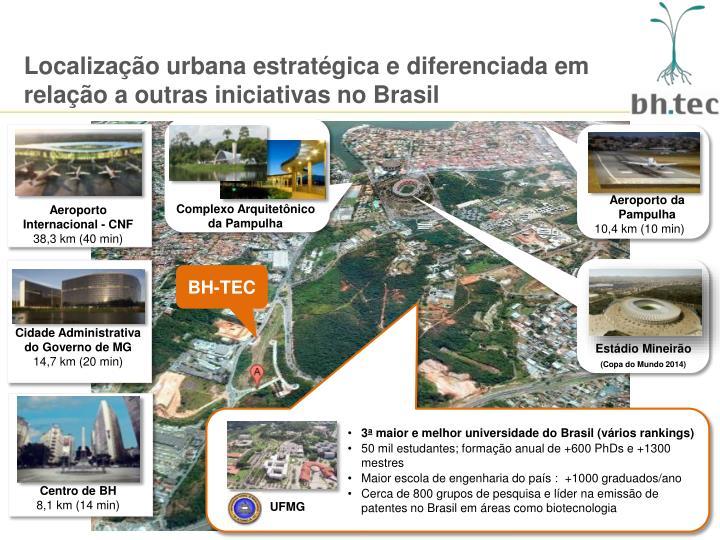 Localização urbana estratégica e diferenciada em relação a outras iniciativas no Brasil