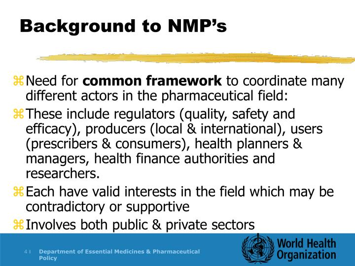 Background to NMP's