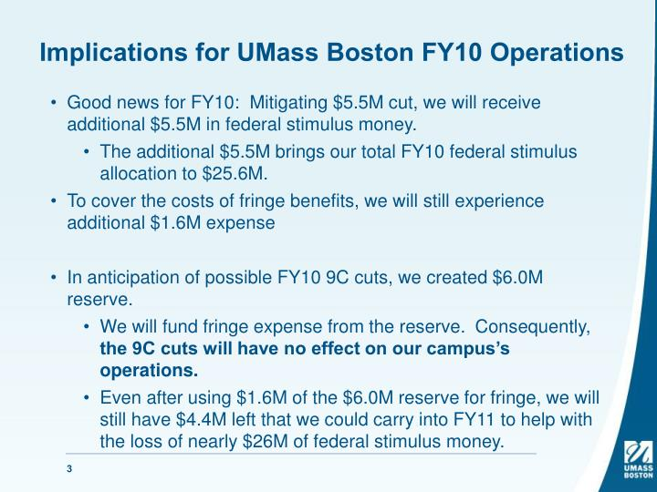 Implications for UMass Boston FY10 Operations