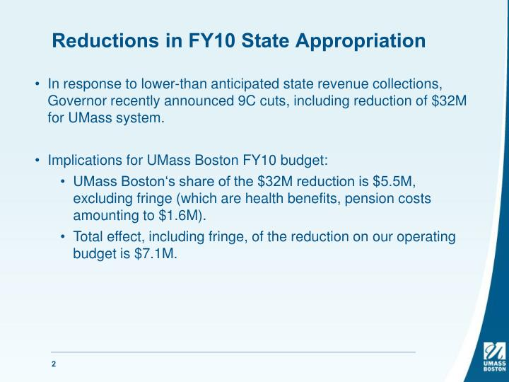 Reductions in FY10 State Appropriation