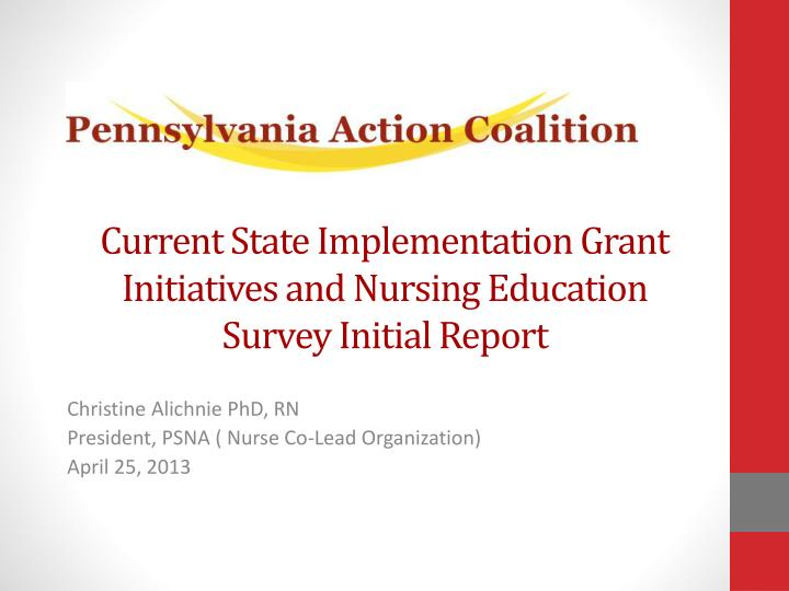 Current State Implementation Grant Initiatives and Nursing Education Survey Initial Report